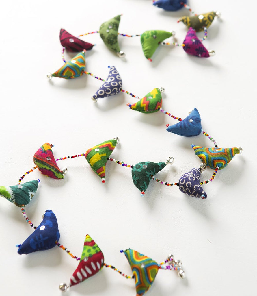 "Song Bird Garland - 45""- Made from Upcycled Sari Cloth"
