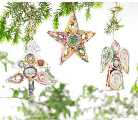Recycled Paper Ornament - CHRISTMAS TREE - fairtribe