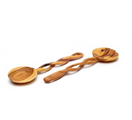 Olive Wood Spiral Serving Spoons - fairtribe