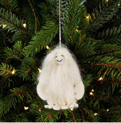 White Yeti (Abominable Snowman) Felt Christmas Tree Ornament - fairtribe