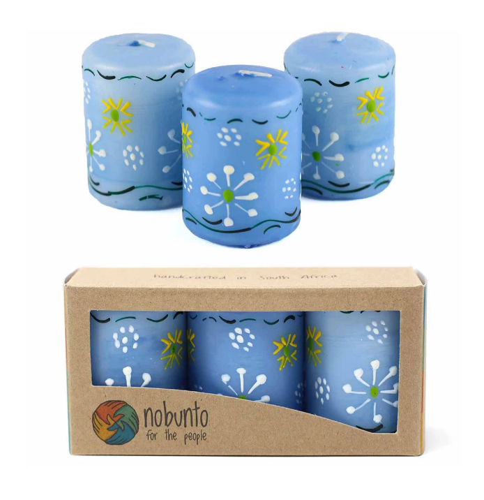 Hand Painted Candles in Blue Masika Design (box of three) - Nobunto