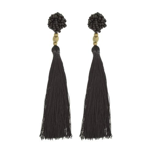 The Rosette Tassel Earring, Black - Aid Through Trade - fairtribe