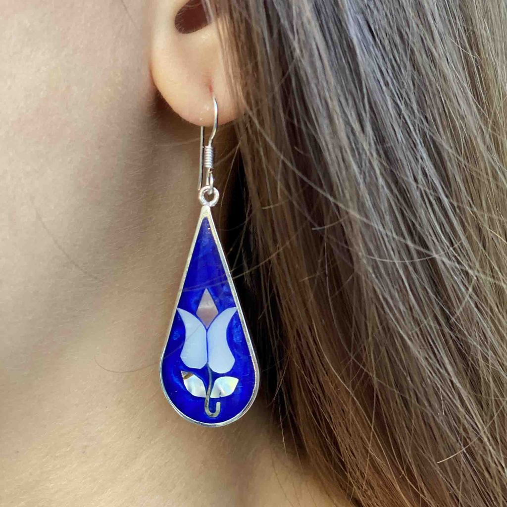 Tulip Abalone Teardrop Earrings