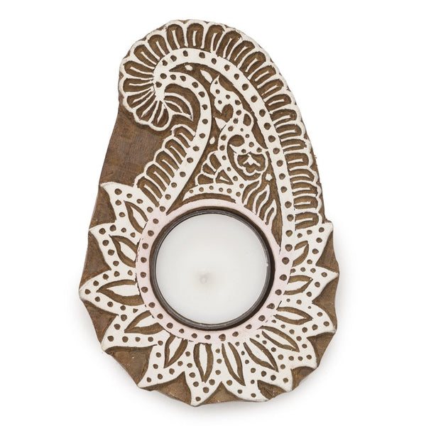 Aashiyana Wooden Tea Light Holder - Paisley Pattern - fairtribe