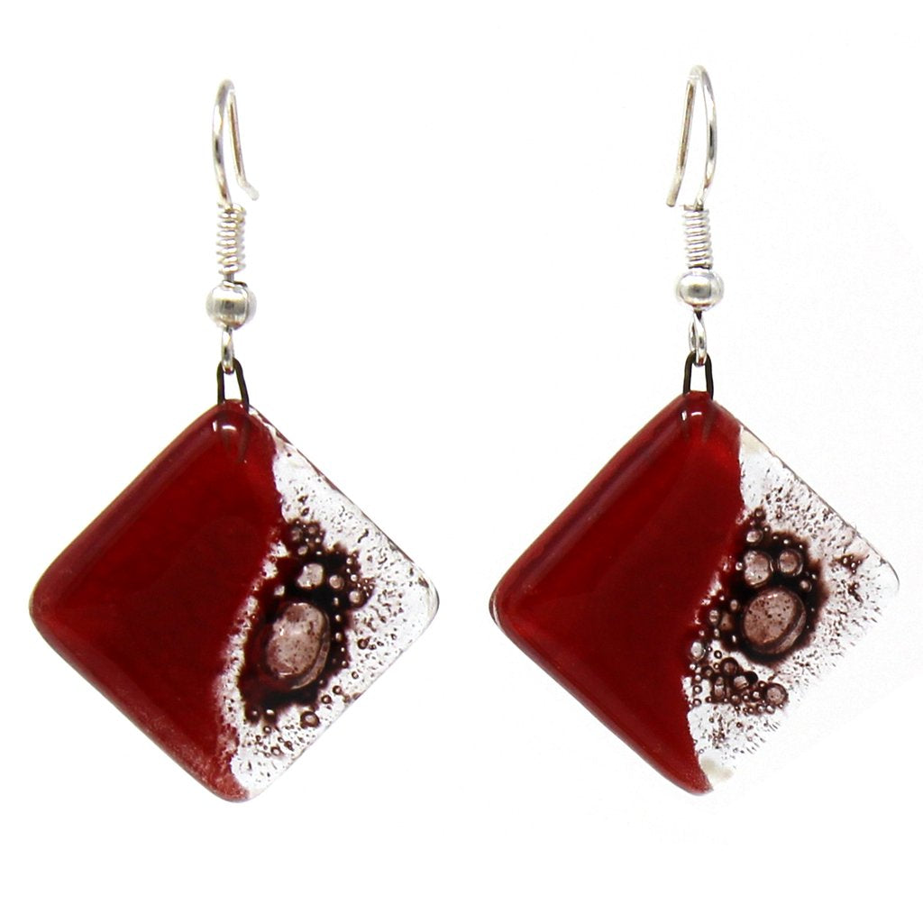 Plum | Rhombus Glass Dangle Earrings