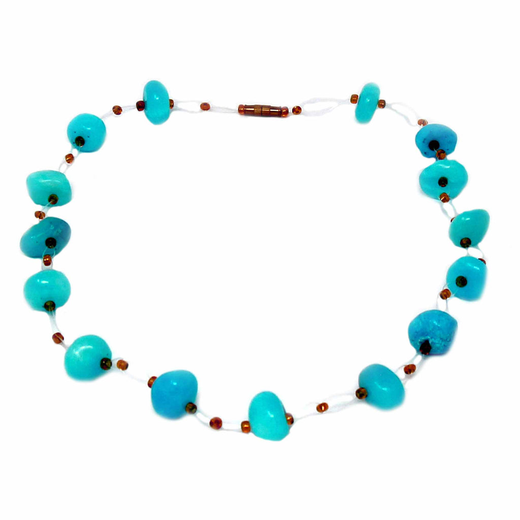 Floating Stone & Maasai Bead Necklace, Turquoise
