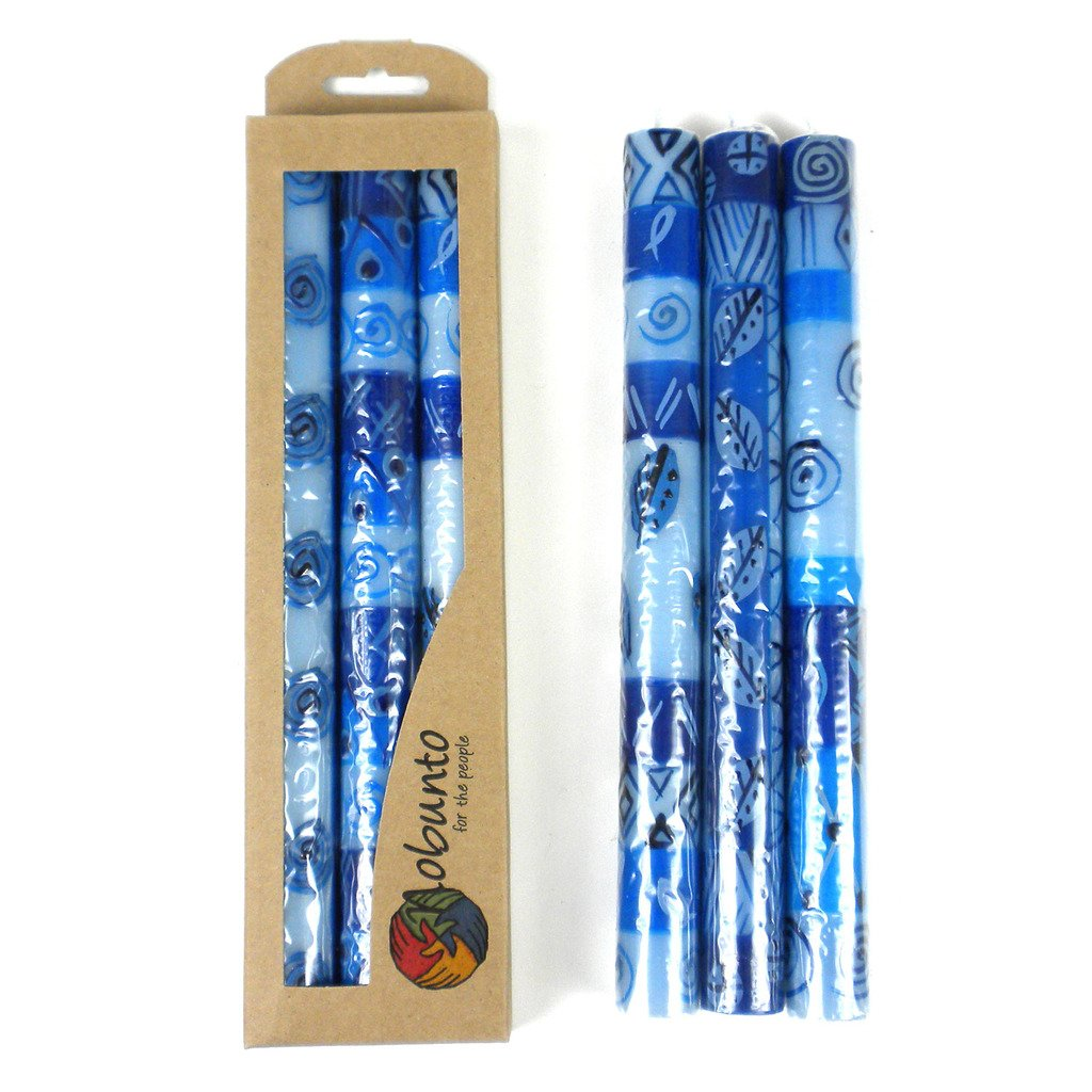 Tall Hand Painted Candles - Three in Box - Feruzi Design - Nobunto - fairtribe