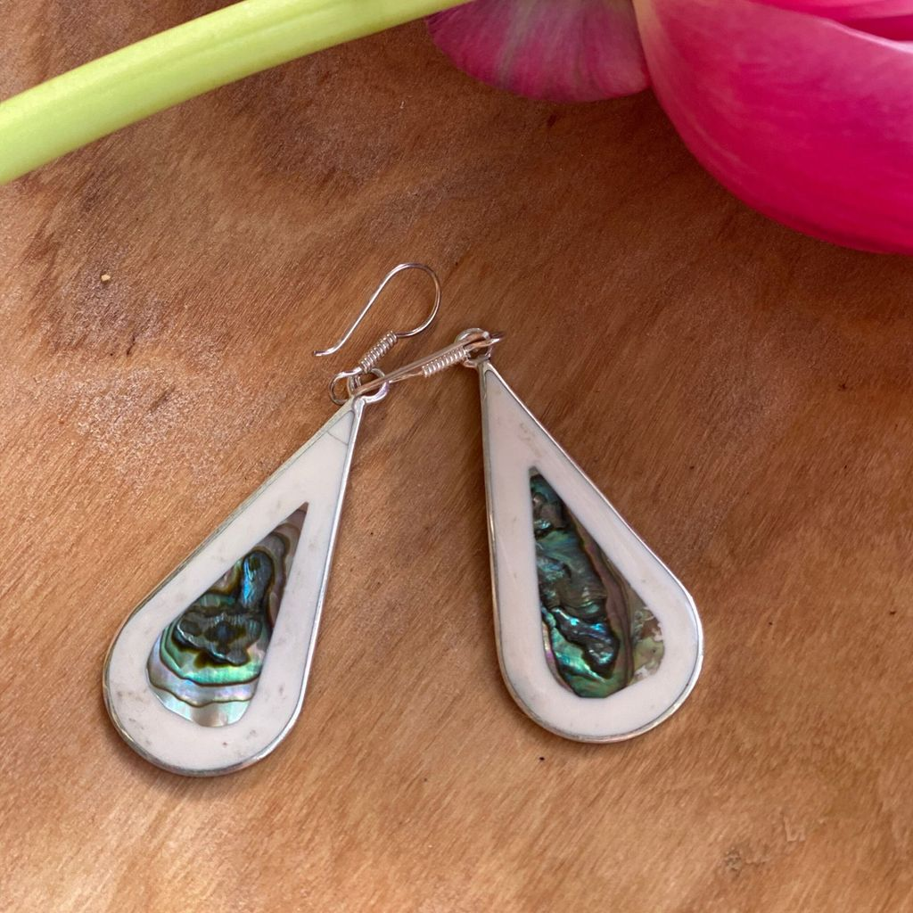 Teardrop Abalone and Mother of Pearl Drop Earrings