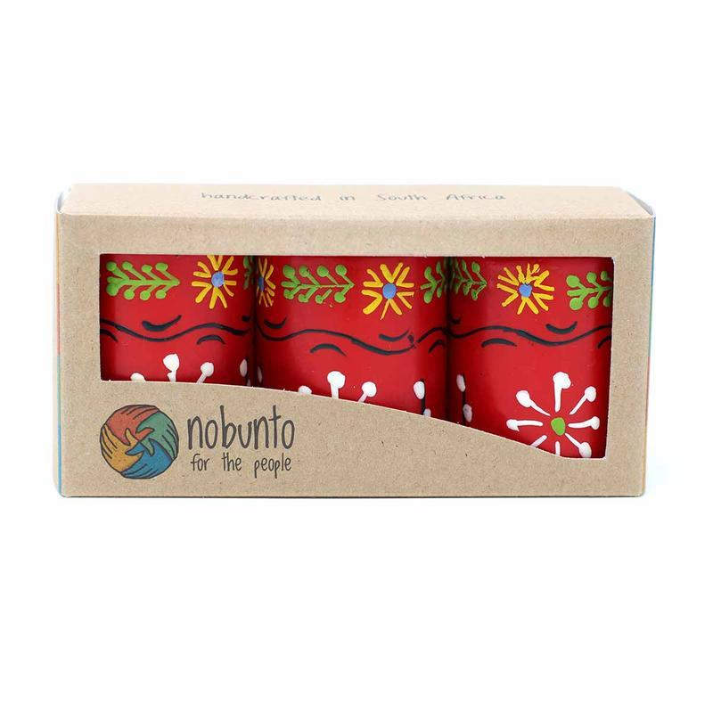 Hand Painted Candles in Red Masika Design (box of three) - Nobunto - fairtribe