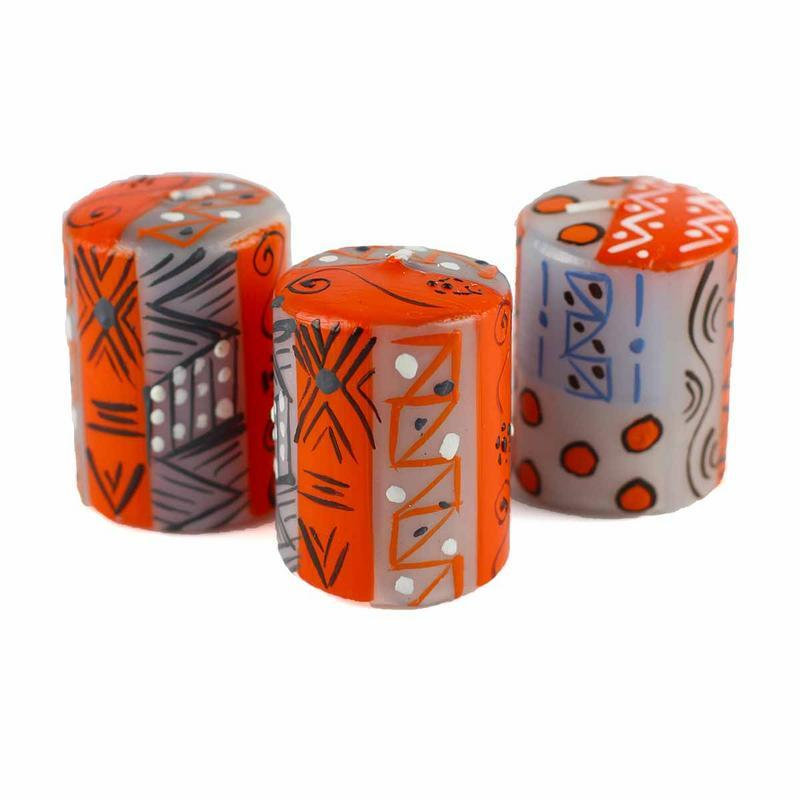 Hand Painted Candles in Kukomo Design (box of three) - Nobunto - fairtribe