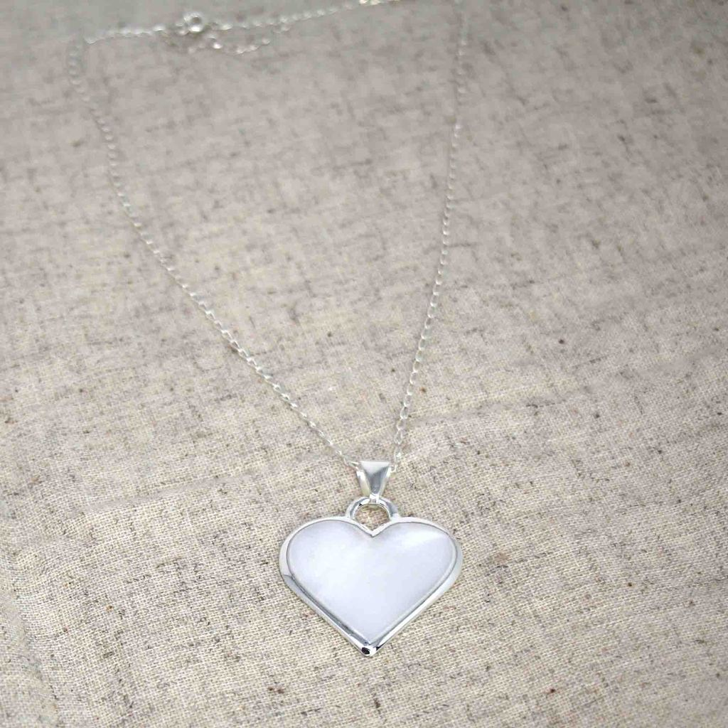 White Heart Pendant with Chain