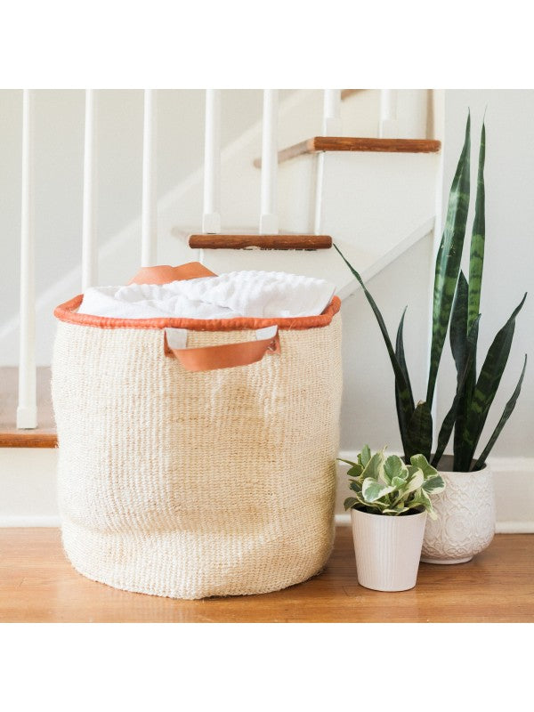 "18"" Sisal Laundry Basket - Natural White - fairtribe"
