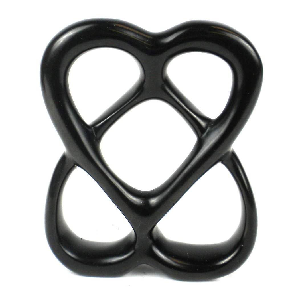 Black - Double Heart Soapstone Sculpture - 4 inch