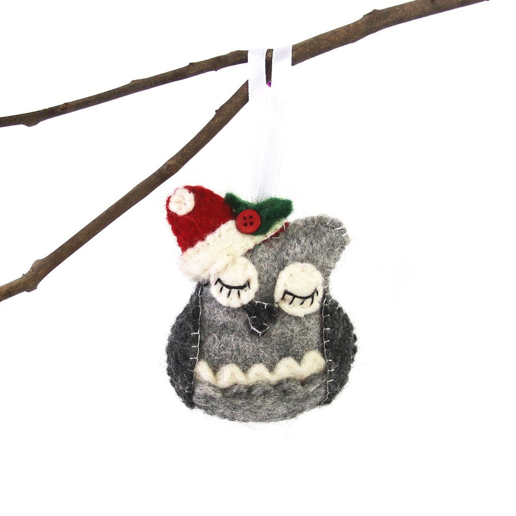 Sleepy Owl Felt Christmas Tree Ornament