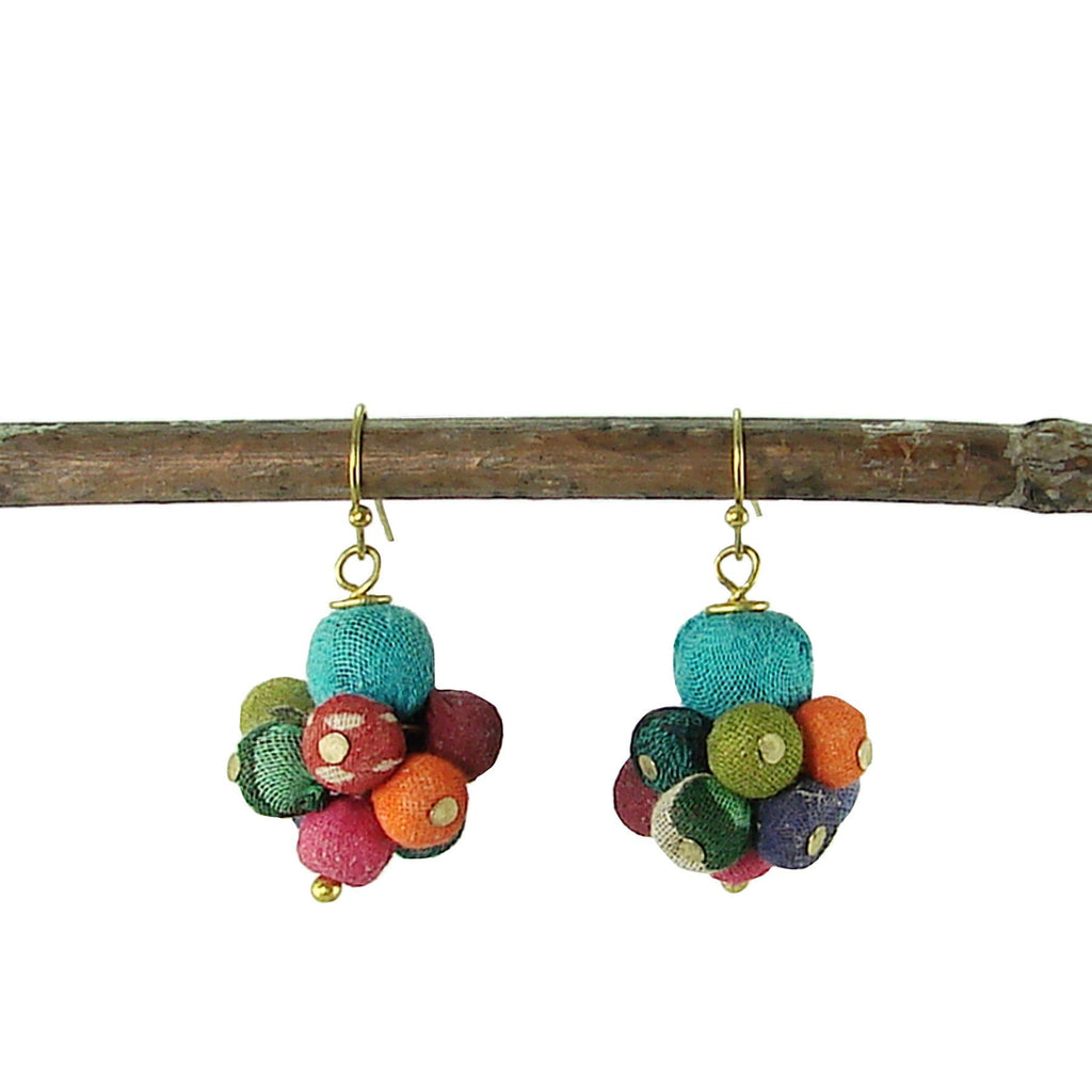 Kantha Drop Earrings - WorldFinds - fairtribe