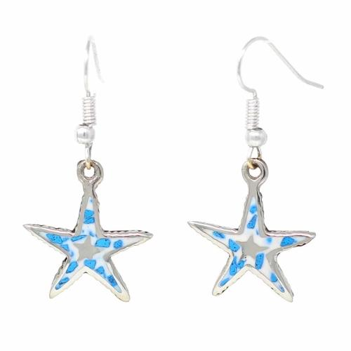 Inlaid Starfish Earrings | Silver
