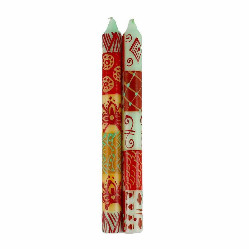 Hand Painted Candles in Owoduni Design (pair of tapers) - Nobunto - fairtribe