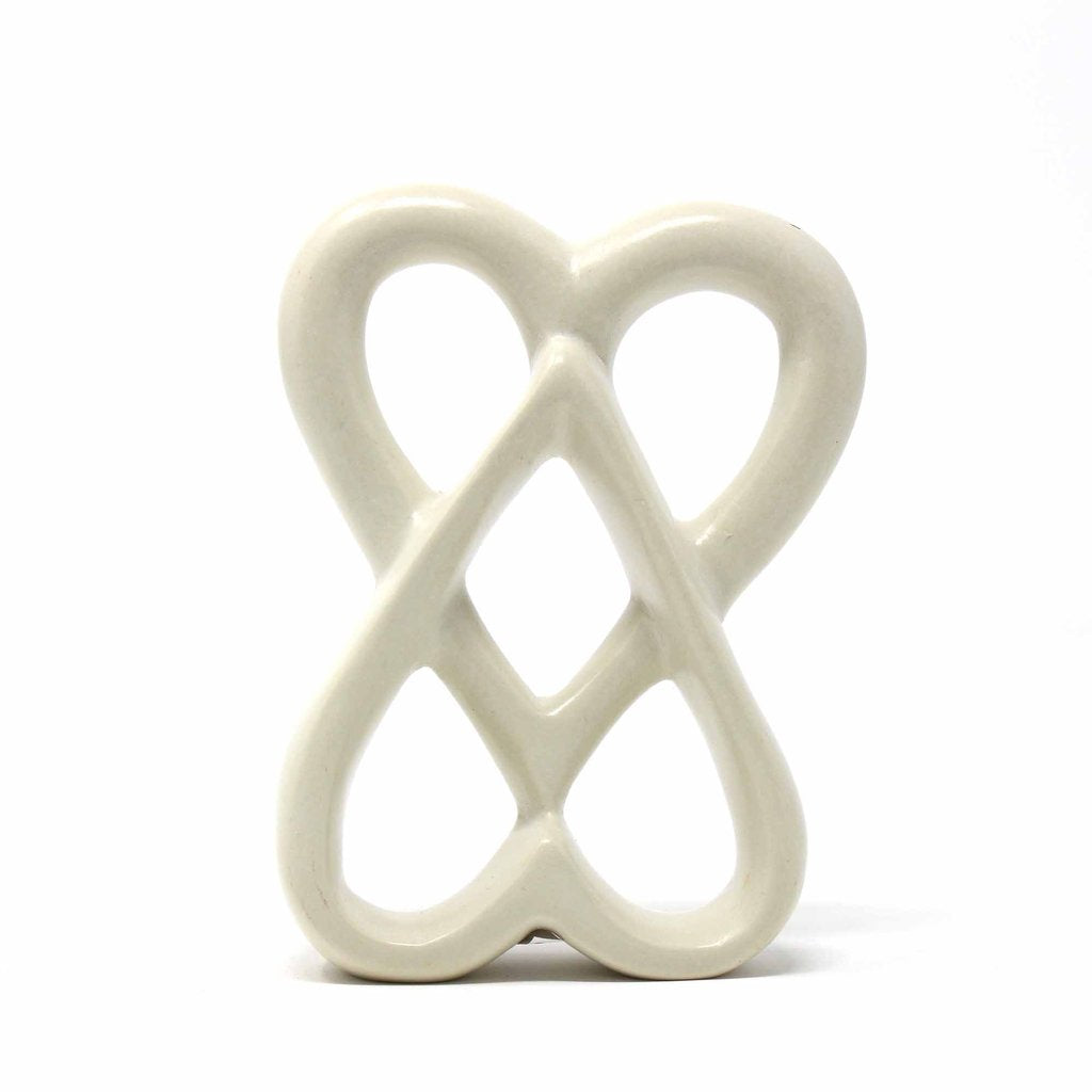White - Double Heart Soapstone Sculpture -  4 inch