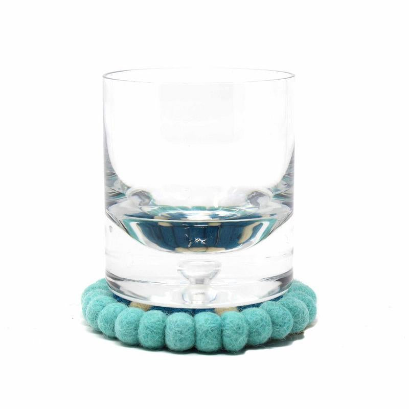 Hand Crafted Felt Ball Coasters from Nepal: 4-pack, Flower Turquoise - Global Groove (T) - fairtribe