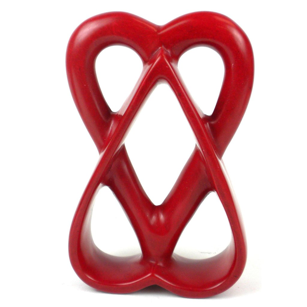 Red - Double Heart Soapstone Sculpture - 6 inch