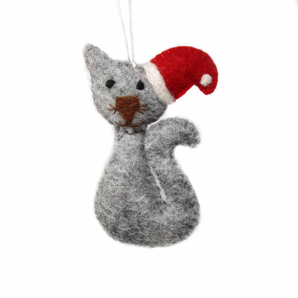 Grey Cat with Santa Hat Felt Christmas Tree Ornament
