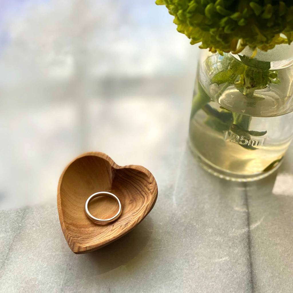 Set of 2 -  Petite Olive Wood Heart Trinket Bowls