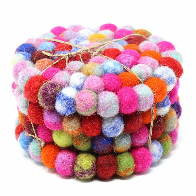 4 Pack | Rainbow Pink |  Felt Ball Coasters from Nepal