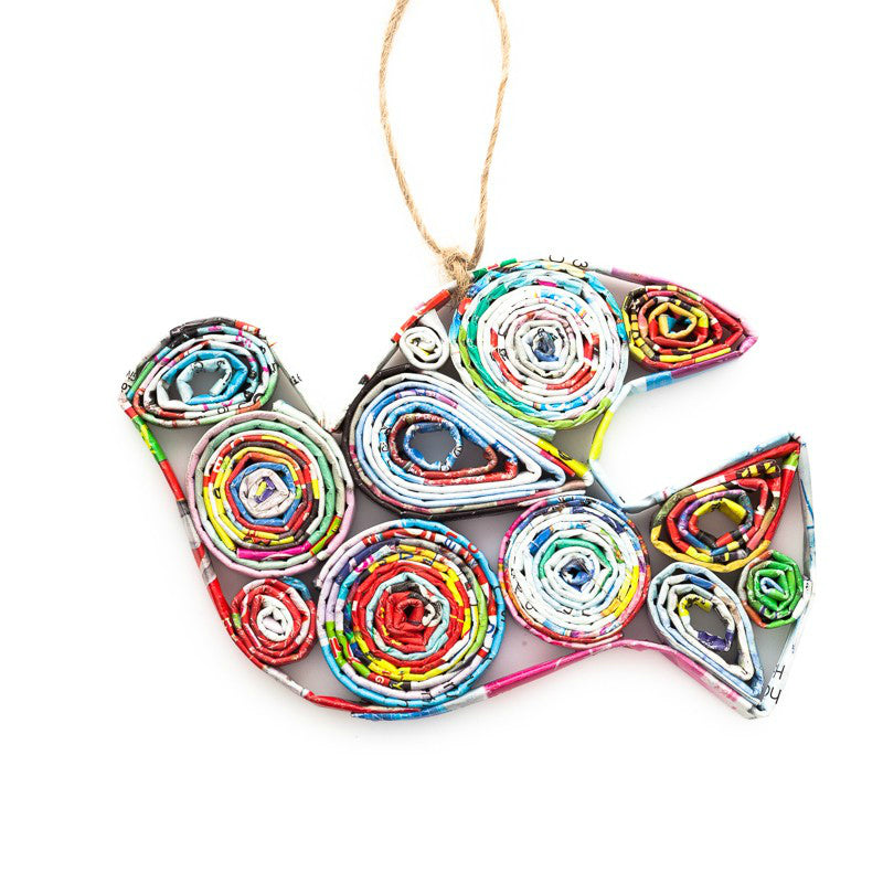 Recycled Paper Ornament - Colorful Dove - fairtribe