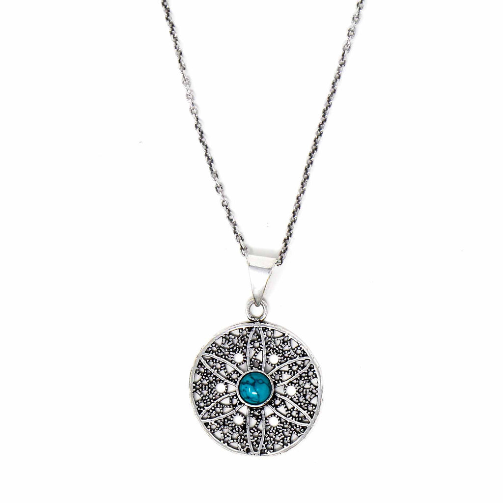 Jali Floral Turquoise Pendant Brass Necklace