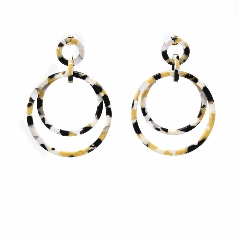 Acetate and Stainless Steel Stud Hoop Earrings - fairtribe