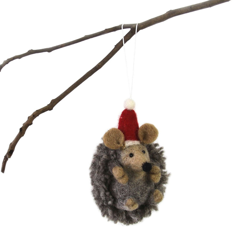 Hedgehog in Santa Hat - Felt Christmas Tree Ornament