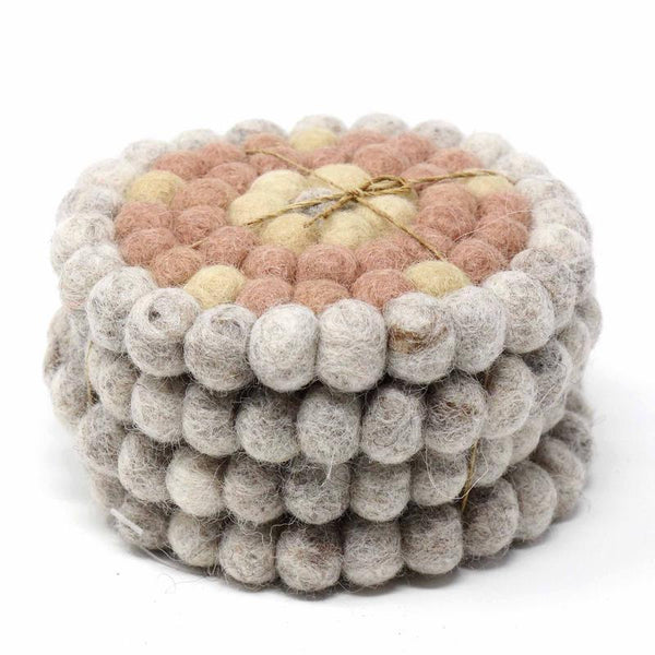 Hand Crafted Felt Ball Coasters from Nepal: 4-pack, Flower Pinks - Global Groove (T) - fairtribe