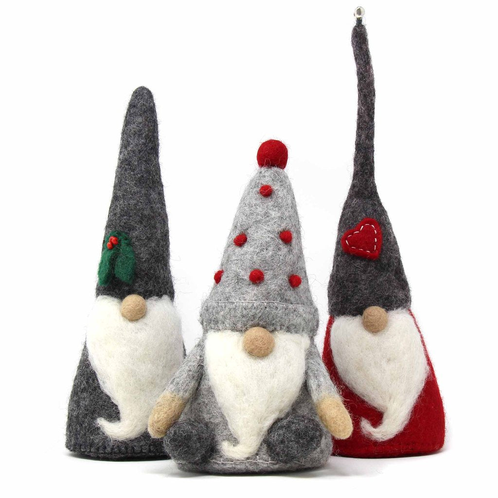 Set of 3 | Felt Christmas Gnomes with Beards