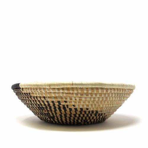 Woven Sisal Fruit Basket | Spiral Pattern | Natural/Black