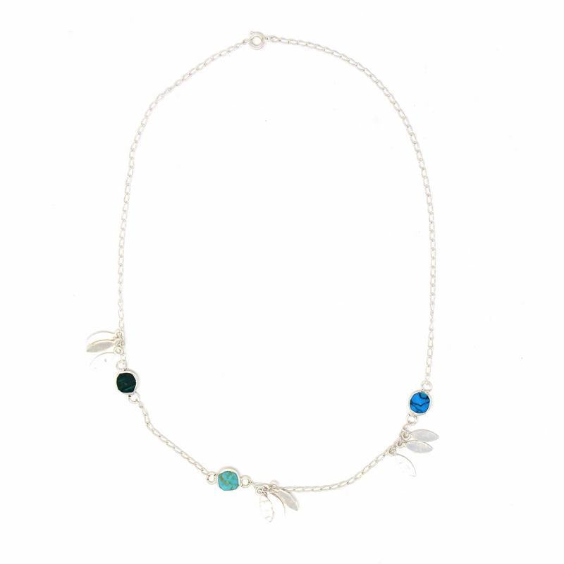 Silver Plated | Feathers and Turquoise Stone | Necklace