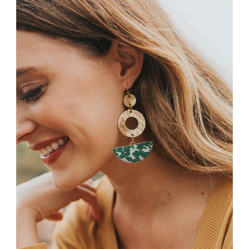 Ria Earrings | Green Slice