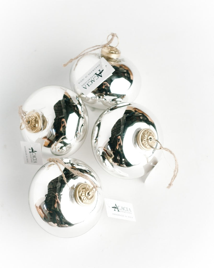 Set of 4 | Silver Bulb | Handblown Glass Ornaments