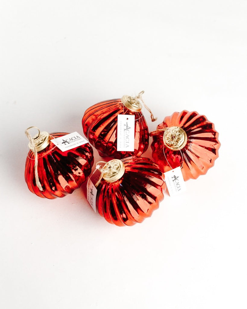 Set of 4 | Red Orb | Handblown Glass Ornaments