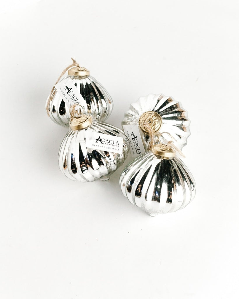 Set of 4 | Silver Orbs | Handblown Glass Ornaments