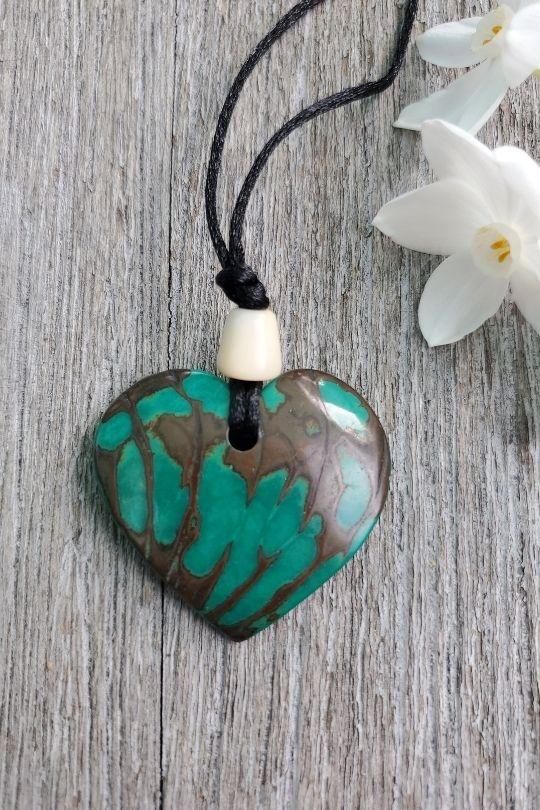 Tagua Nut Green Heart Pendant