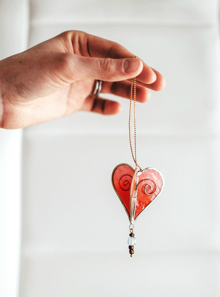 Capiz Shell Heart Ornament