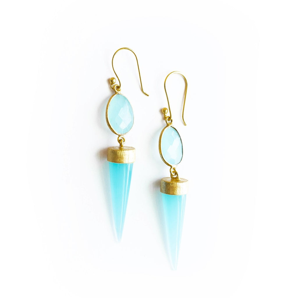 Geo Aqua Blue Earrings - fairtribe