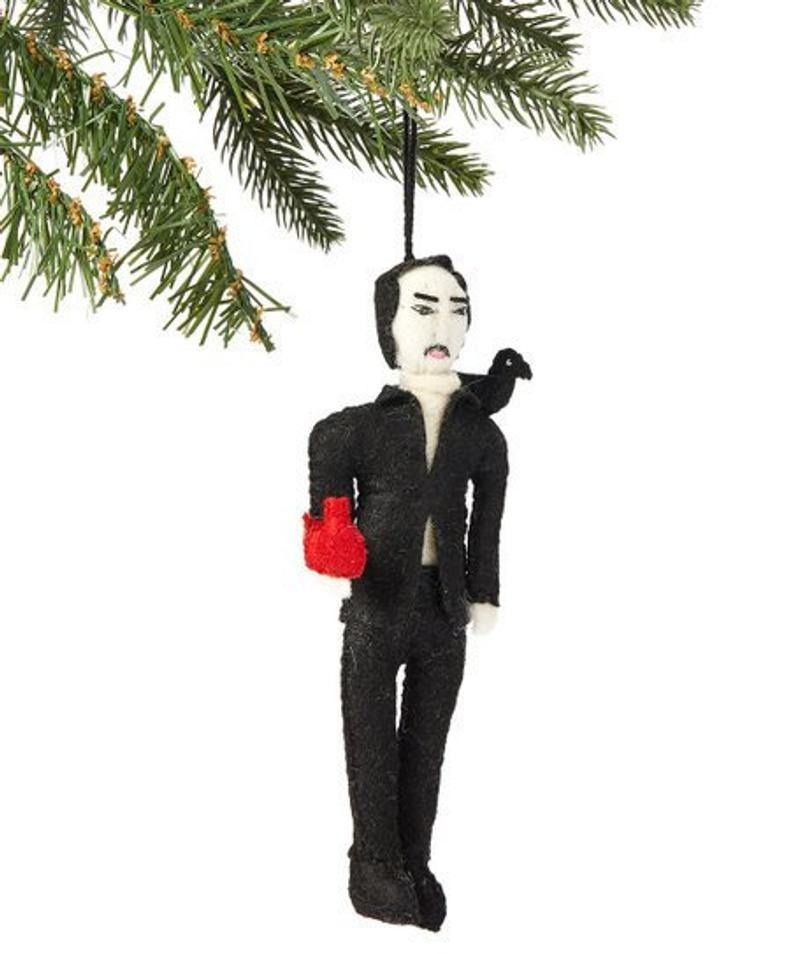 Edgar Allen Poe Felt Christmas Tree Ornament