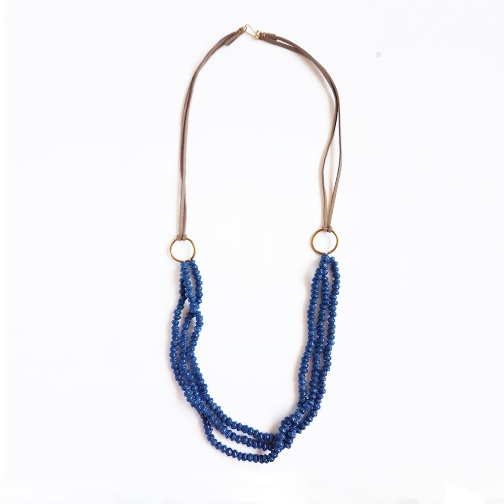 Blue  - Recycled Paper 3 Strand Necklace