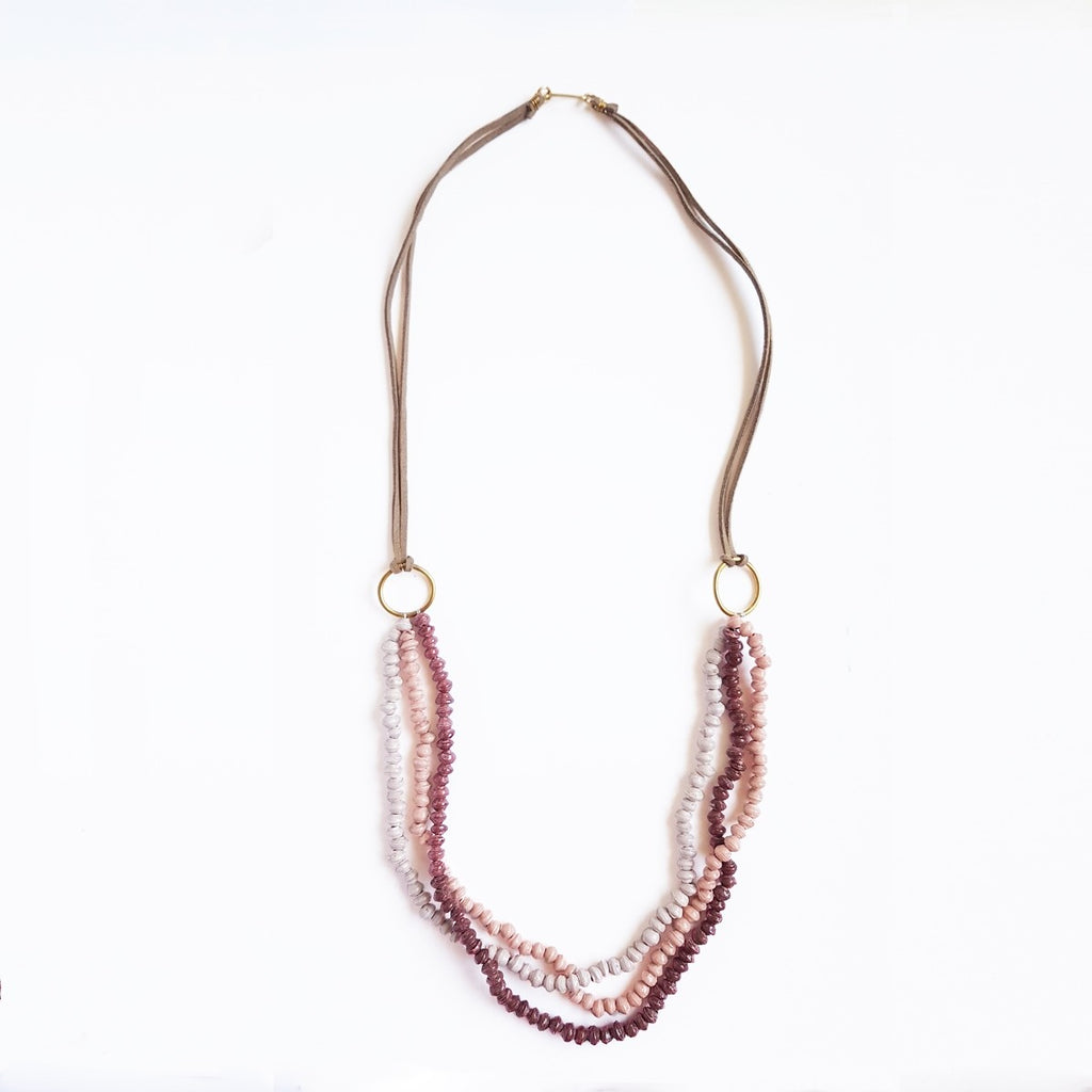 Wine & Pink - Recycled Paper 3 Strand Necklace