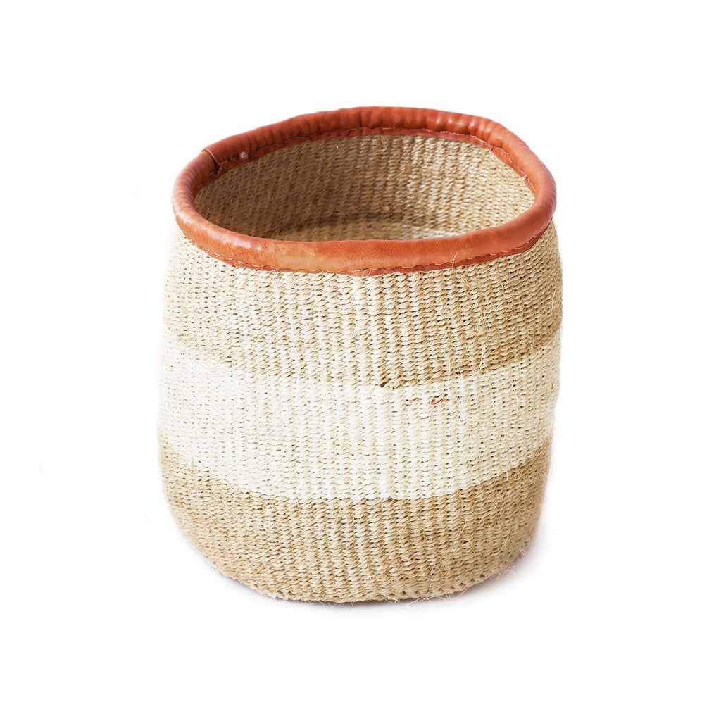 "8"" Sisal Accent Basket -  Khaki/White - fairtribe"