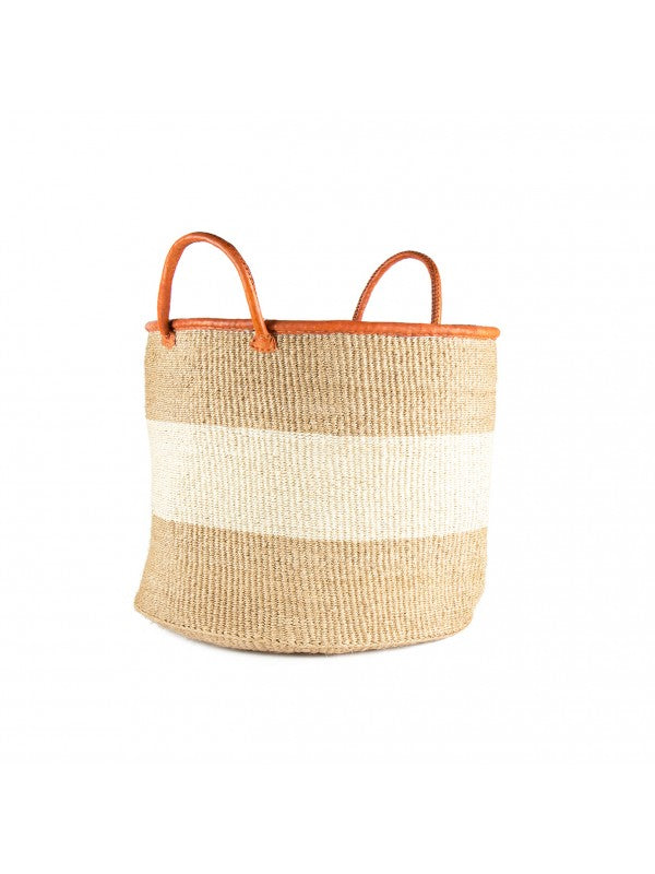 18 inch Khaki and White Sisal Basket - fairtribe