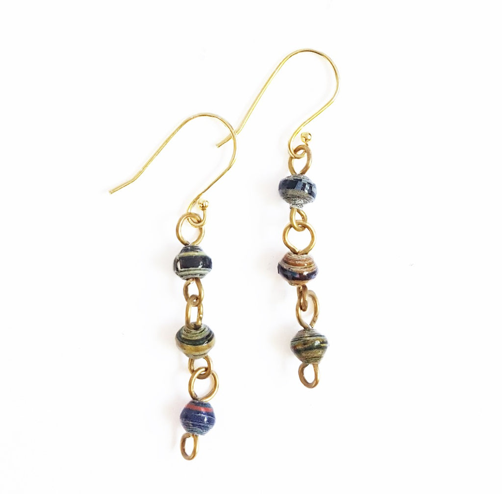 Paper Bead Drop Earrings - Dusk - fairtribe