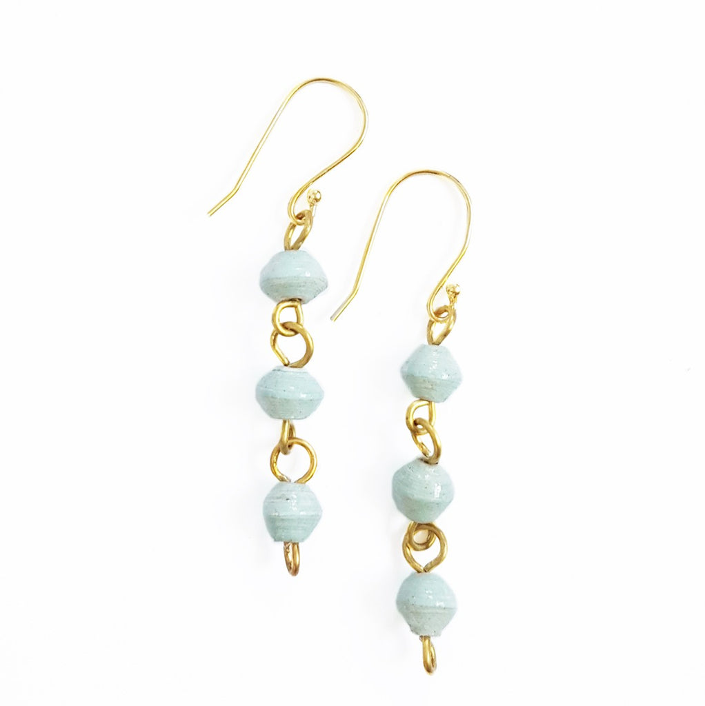 Paper Bead Drop Earrings - Sky Blue - fairtribe