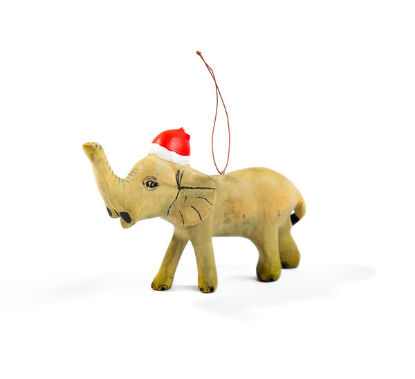 Handcarved Elephant Ornament with Santa Hat - fairtribe
